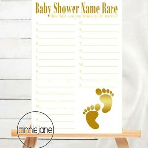 Baby Shower Game - Name Game - Gold Baby Foot Collection Unisex Baby Girl or Boy