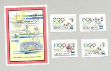 Sierra Leone #1026, 1028-29, 1032, 1034 Olympics 4v & 1v S/S Imperf Proofs