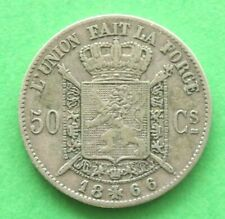 More details for 1866 belgium silver 50 cents sno54367