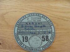 Original Vintage norton sidecar  Bicycle Tax Disc june  1958
