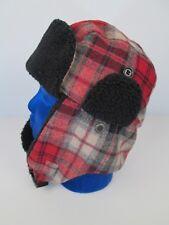 PENDLETON Wool Hunting Hat Red Plaid Black Elmer Fudd Ear Trapper Flaps S/M