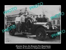 OLD 8x6 HISTORIC PHOTO OF HOUSTON TEXAS THE FIRE DEPARTMENT STATION No18 1929