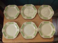Six Vintage Edwin Knowles China Diana Pattern Bread Plates Green Lattice Design
