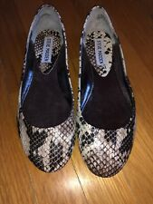 Steve Madden Women's 6.5M Snake Leather Ballet Flats Round Toe Shoes