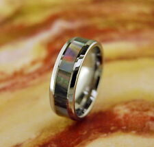 Wedding Band-Tungsten Carbide Ring with Mother Of Pearl Inlay 8MM,Wedding Band,
