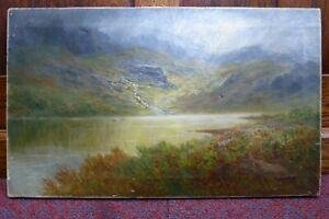 Antique Llyn y Gafr Welsh Art Landscape Oil painting Wales Snowdonia signd Ellis
