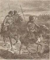 Russian Troops In Roumania. Cossacks. Harper's Weekly. 1877 Engraving