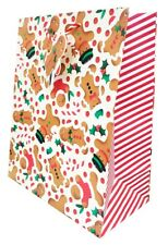 Christmas Gift Bag Large Present Wrapping Cute Gingerbread Kids Tag Quality Xmas