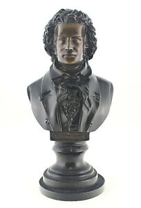 Large Solid Bronze Beethoven Bust 18-3/4 Inch Tall