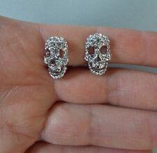 Silver Crystal Skull Clip-On Earrings -UK SELLER