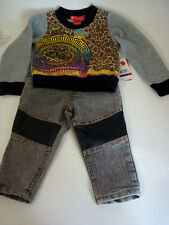 Infant Baby Girl's SZ 12 Months 2 PC Apple Bottoms Sweat Jeans Outfit SET NWT