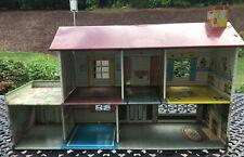 Vintage 1949 Marx Tin Litho Metal Dollhouse Doll House Disney Furniture People
