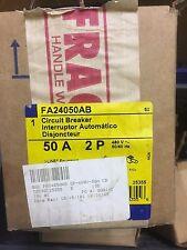 NEW IN BOX  Square D FA24050AB 50 Amp 480 VAC 2 Pole Circuit Breaker