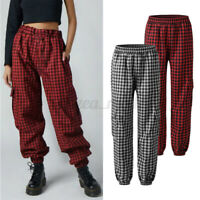 Womens Check Plaid Wide Leg Harem Trousers Harlan Casual Loose Baggy Cargo Pants