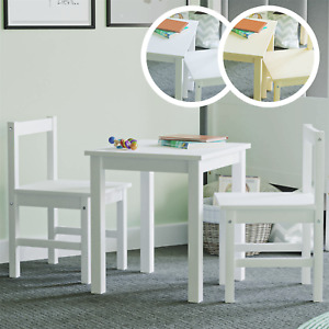 Kids Table Desk Chairs Set Two Seater Children Workstation Solid Pine White