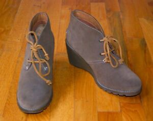 Sperry Top Sider Brown Suede Harlow Lace Up Wedge Ankle Boots / Women's 9.5