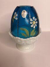 New listing Fenton Art Glass Blue Milk Fairy Lamp Hand Painted Daisies flowers Artist Signed