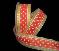 5 Yd Carnival Orange White Polka Dot Yellow White Stripe Edge Wired Ribbon 1 1/2