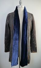 ETRO paisley 8 ply cashmere velvet collar cardigan sweater size 46 WORN ONCE
