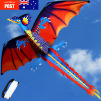 3D Dragon Kite Single Line With Tail Family Outdoor Sport Toy Gift Kid
