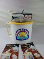 Donvier 2 Pint Ice Cream Maker Chillfast Yellow Rim Manual Hand-Crank