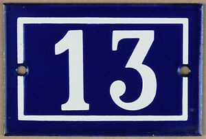 Old blue French house number 13 door gate wall plate plaque enamel sign 1970 NOS