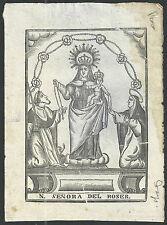 Grabado antiguo Virgen del Rosario andachtsbild santino holy card santini