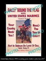 OLD LARGE HISTORIC PHOTO OF WWI USA MARINES MILITARY RECRUITING POSTER c1917 4