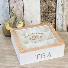 9 Compartment Cafe de Paris Vintage Tea Bag Box Caddy Storage Chest Shabby Chic