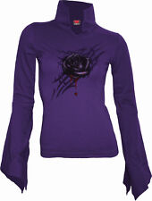 Spiral Direct Black Rose Dew High Neck Goth Top Purple 13.99|roses|blood S