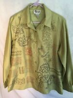 Maggie Sweet Embroidered Front Long Sleeve Button Front Tunic L