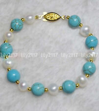 Beautiful Natural 8-9mm White Pearl 8mm Blue Turquoise beads Bracelet 7.5'' AA