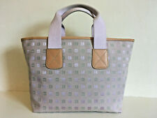 BALLY Tote Bag Leather Trimmed Lilac Jaquard Fabric Womens Swiss Made