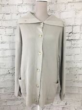 Women's Cardigan Long Sleeve Thick Knit Grey Button Fasten Collar Wool Size L