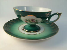 Castle Hand Painted Japan Tea Cup and Saucer Green Gilt Flower Vintage