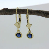 1.00 Ct Round Cut Blue Sapphire Bezel Lever-back Earrings 14k Yellow Gold Over