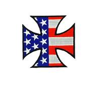Patch patches embroidered iron on backpack biker maltese cross usa flag american