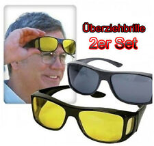 """2 Pull over Sunglasses Over-glasses """"HD Vision"""" Wrap Arounds"""