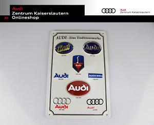 Blechschild Audi eine Traditionsmarke Audi Tradition Emailleschild