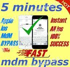 MDM / REMOTE MANAGMENT PROFILE BYPASS FOR iPHONE iPOD iPAD  iOS 15.X 100%