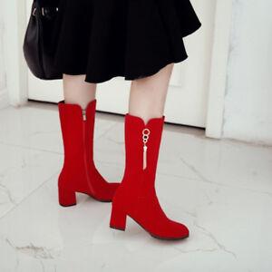 Ladies Mid Calf Boots Block Heels Metal Decor Zipper Autumn Casual Solid Shoes