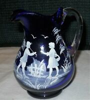 Sale Vintage Mary Gregory Cobalt Blue Painted Little Girl & Boy Glass Creamer