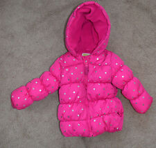 Crazy 8 toddler girls 18 24 months Excellent hot pink silver polka dot coat warm
