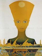 TRAVEL TUTANKHAMUN NEFERTITI CAIRO RAILWAY EGYPT VINTAGE ADVERT POSTER 2540PYLV