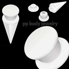 PAIR of 2GA~6mm 2-in-1 Interchangeable White Acrylic UV Screw Fit Taper-Plugs