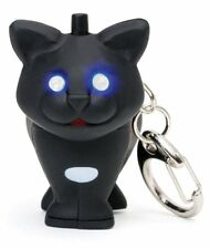 kikkerland Black Cat LED Keyring KRL21C w/ blue glowing eyes and Meow Sound card