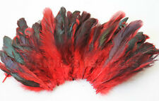 "20g (0.7oz) 4-6"" half bronze bright red schlappen coque rooster feathers ~200pc"