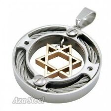 """Men's Silver Gold Star Of David Steel Pendant with 21"""" Chain Necklace"""
