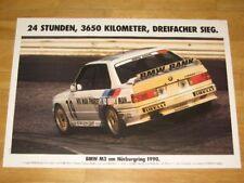 BMW M3 E30 EVO POSTER 14 - ON NURBURGRING 1990 / ORIGINAL VINTAGE in MINT