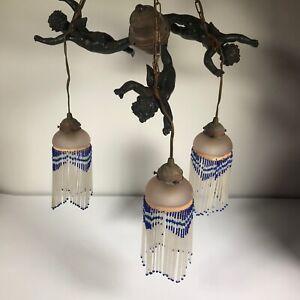 Antique Vintage Cherub Angle Light Fixture Chandelier, Glass Tassels, SEE [CB30]
